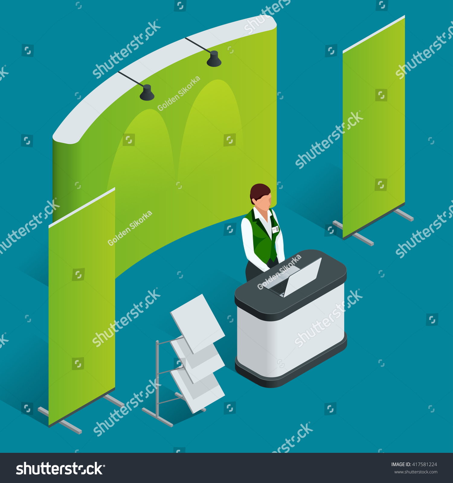 Fabric Exhibition Stand Vector : Isometric exhibition stand trade show booth stock vector