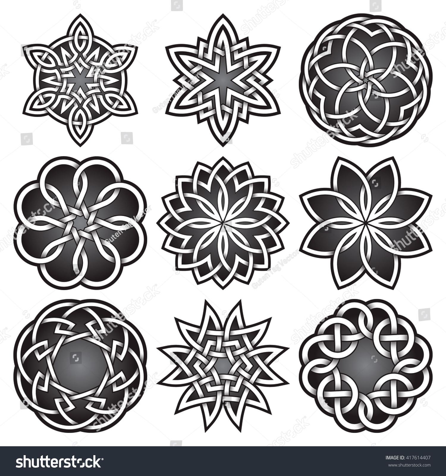 Set Logo Symbols Celtic Knots Style Stock Vector 417614407