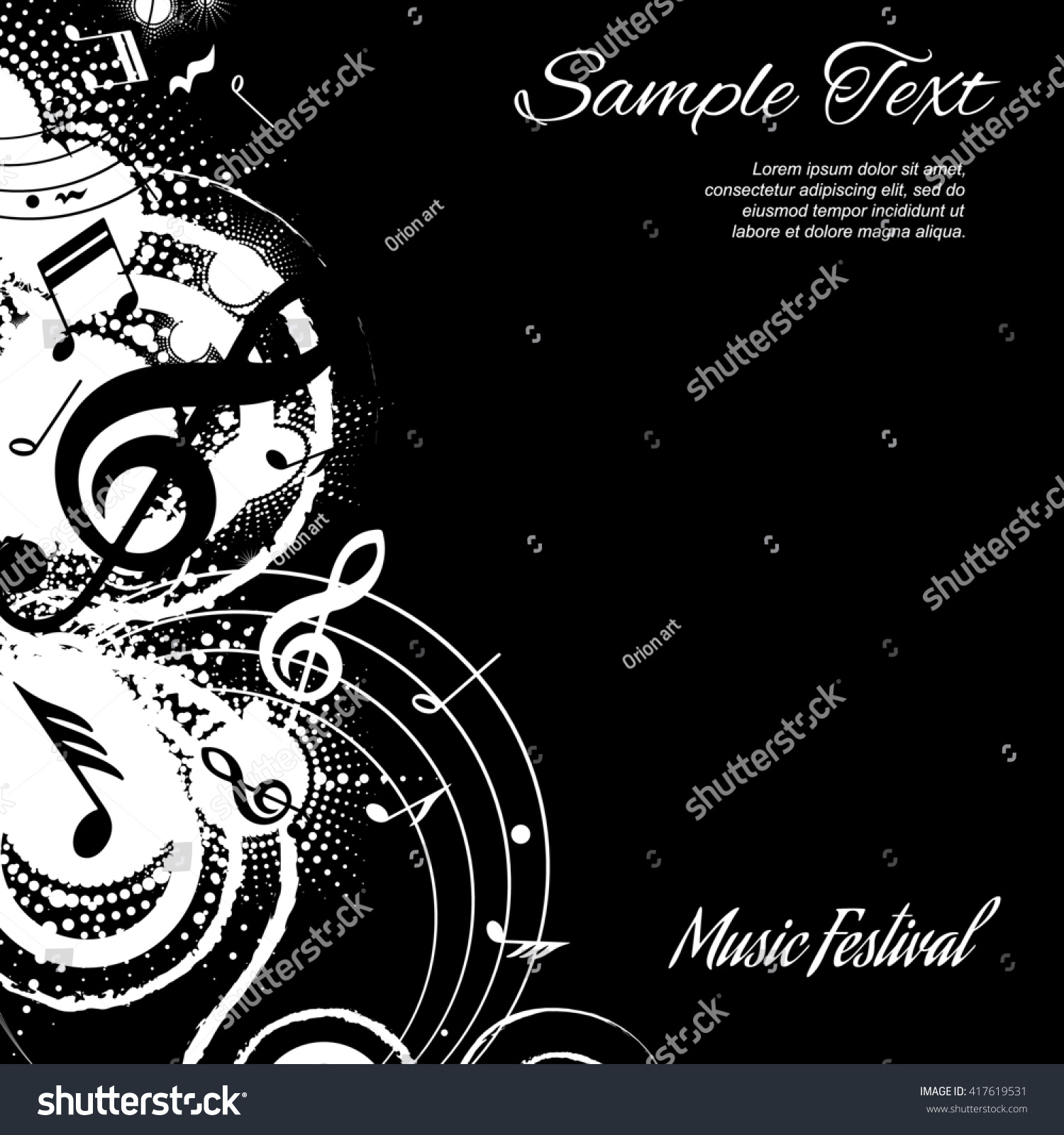 Abstract musical composition on black background stock for The craft of musical composition