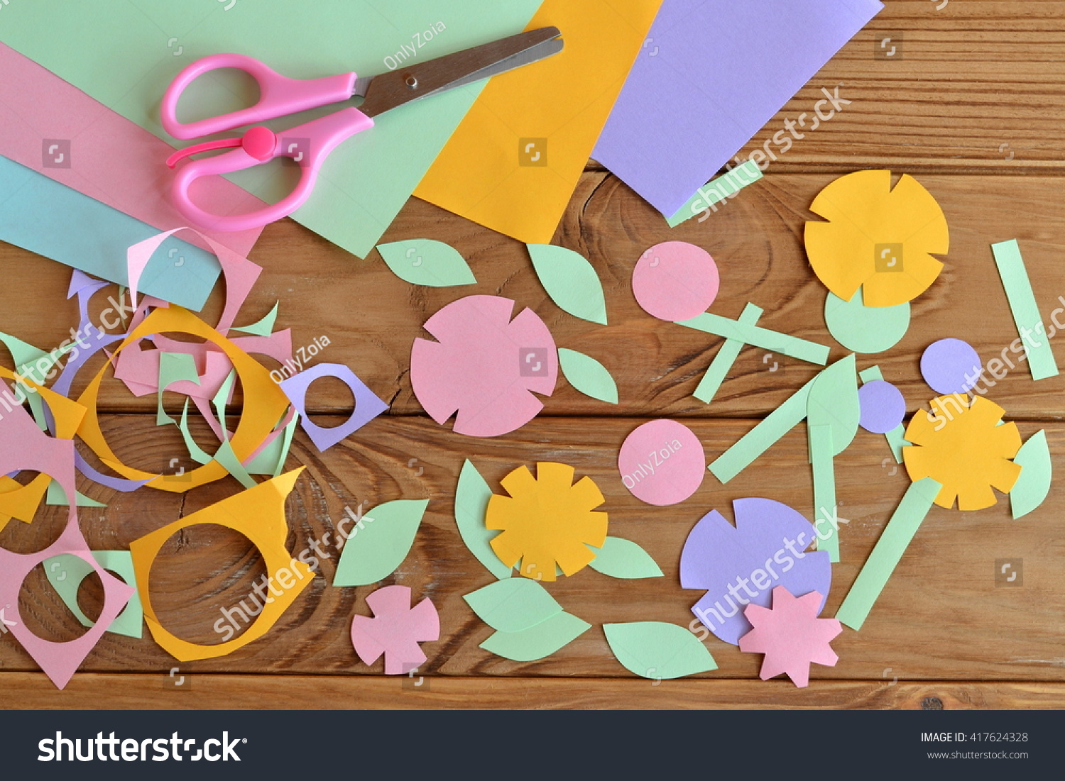 Royalty Free Paper Flowers Paper Sheets Scissors 417624328
