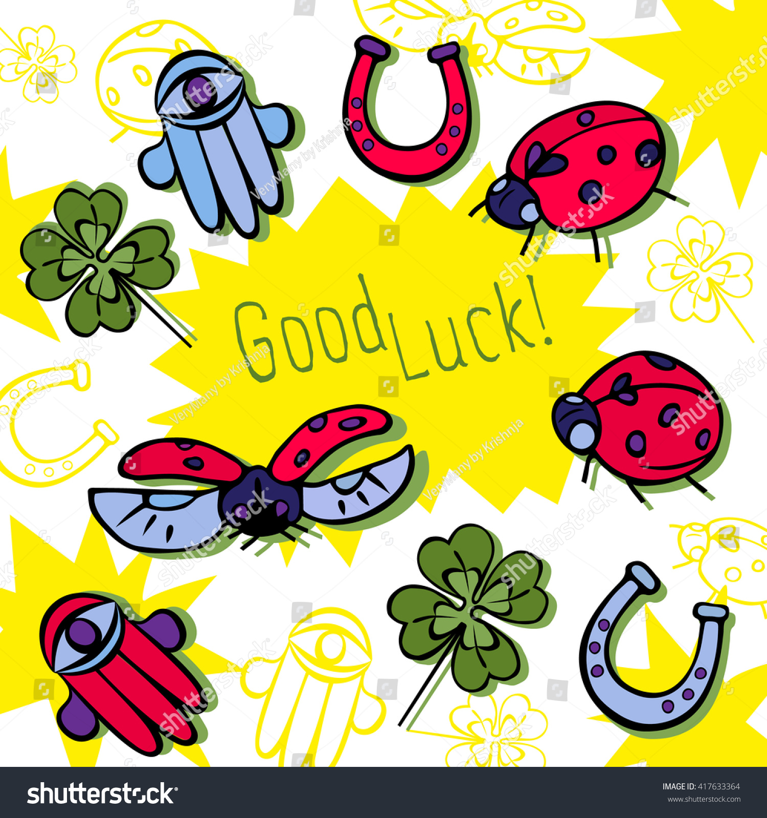 Good luck card set good luck stock vector 417633364 shutterstock good luck card set of good luck symbols vector illustration buycottarizona