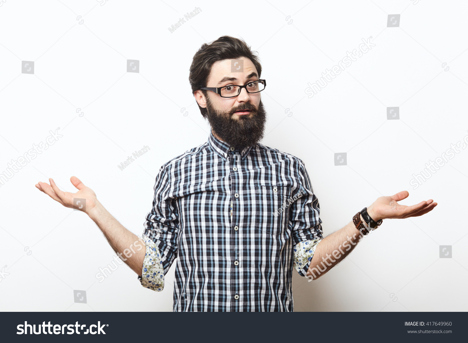 Bearded Hipster Young Man Wearing Glasses Stock Photo ...