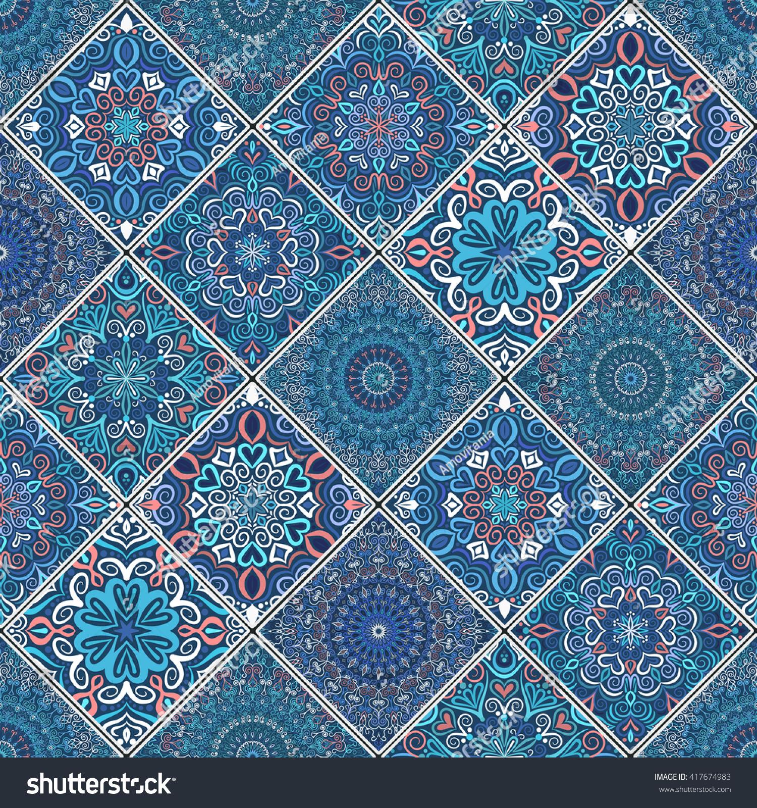 Dark Blue Patchwork Seamless Pattern Boho Stock Vector 417674983 ...