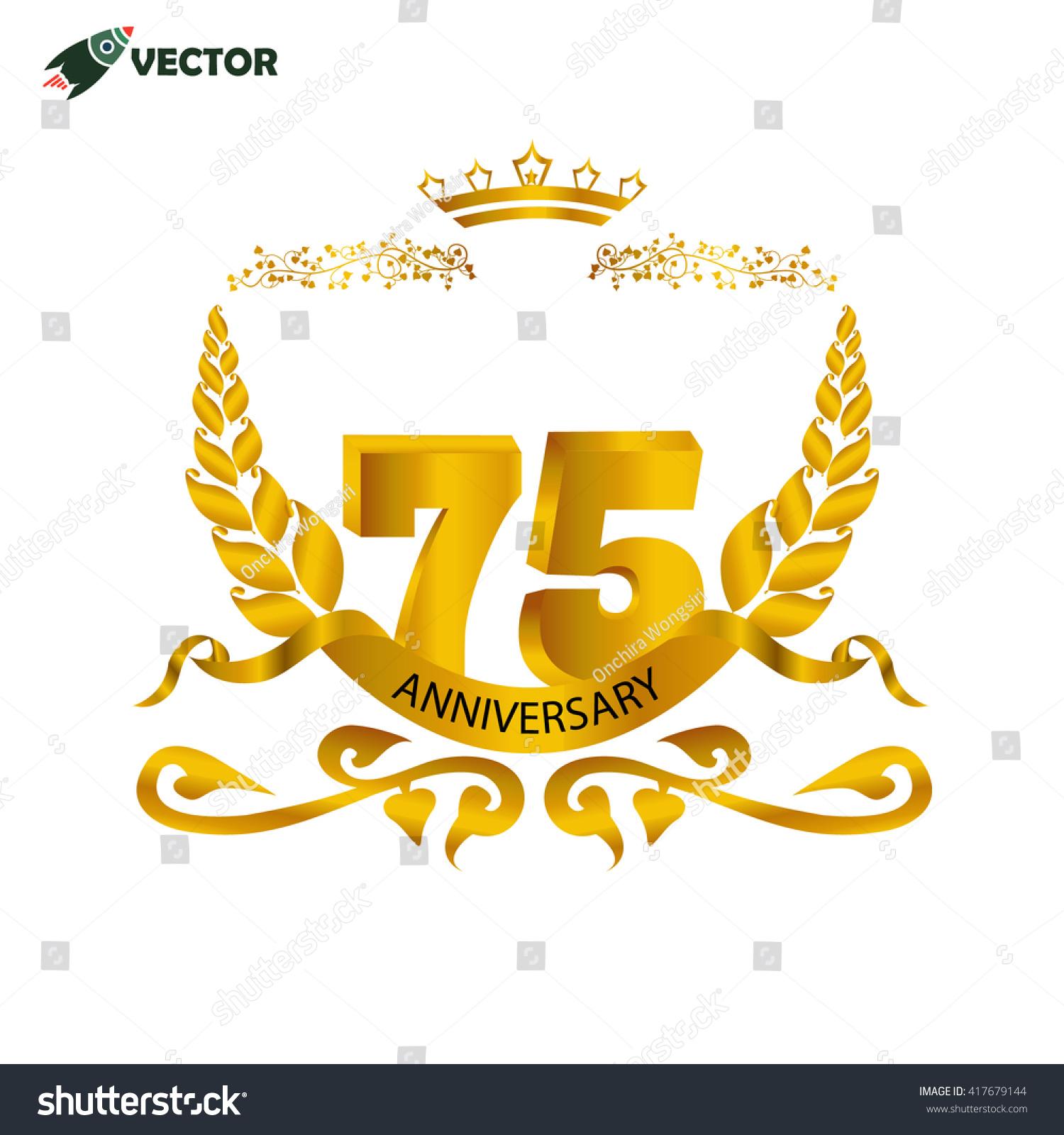 75th Years Anniversary Wedding Birthday Winner Stock Vector Royalty