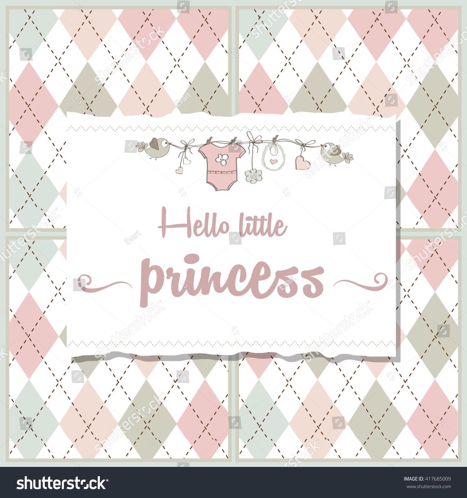 Shabby Chic Baby Girl Shower Card Stock Vector