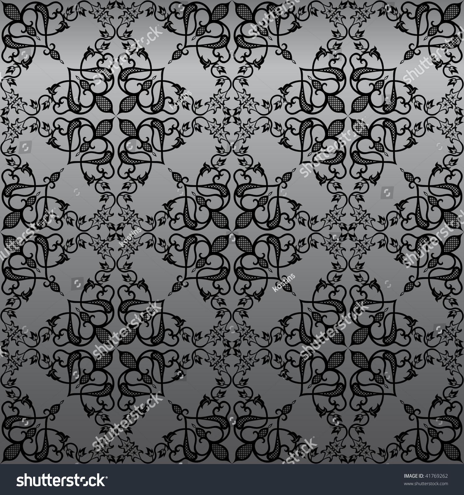 Seamless Gothic Damask Wallpaper Background