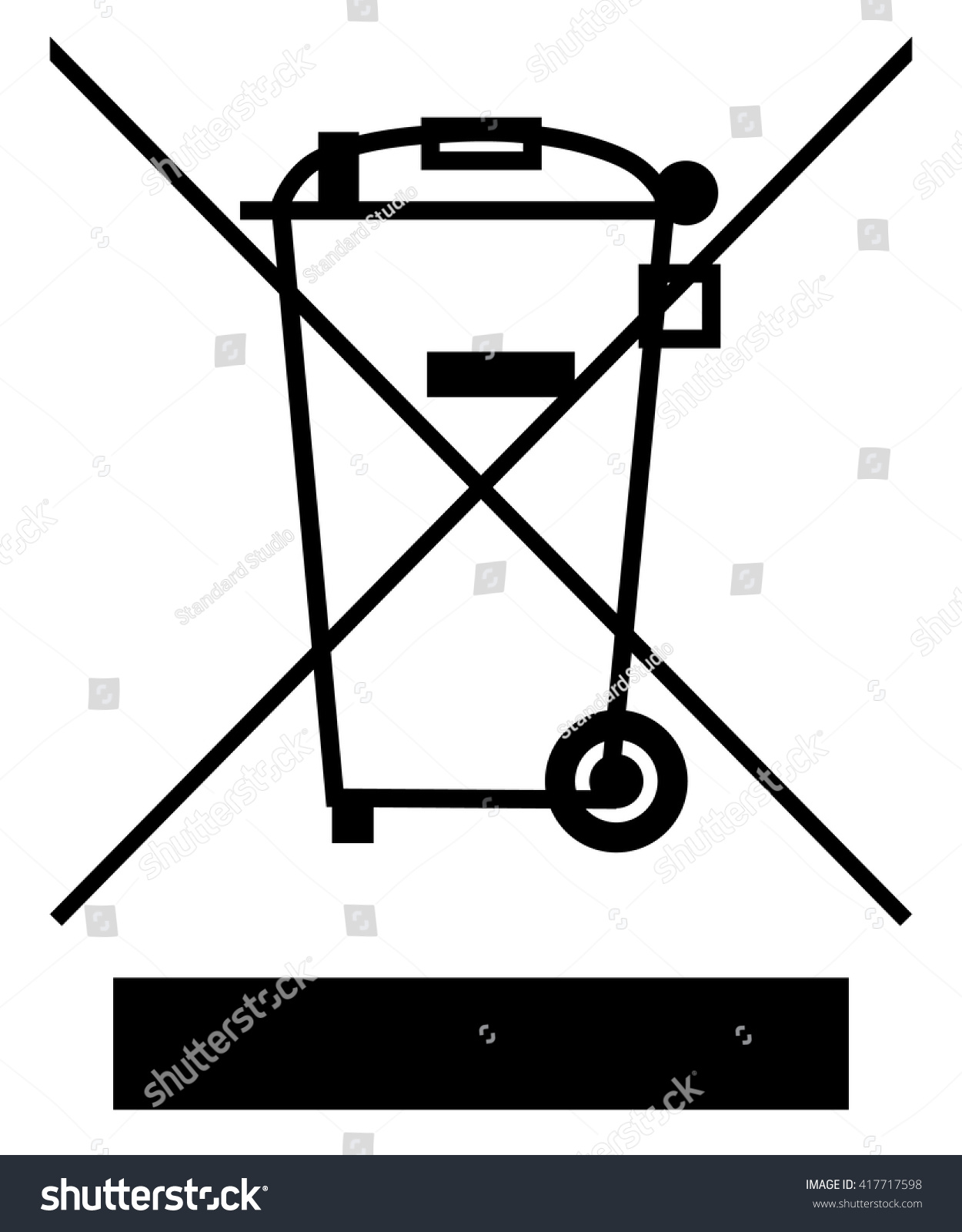 Crossed Out Wheelie Bin Bar Symbol Stock Vector Royalty Free