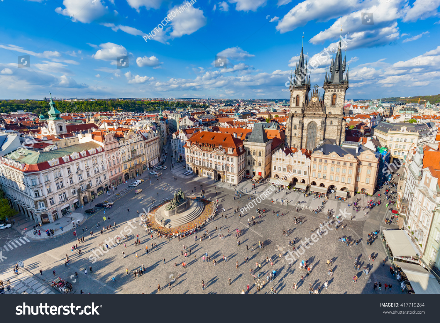 stock photo old town of prague czech republic view on tyn church and jan hus memorial on the square as seen 417719284 - asdasd