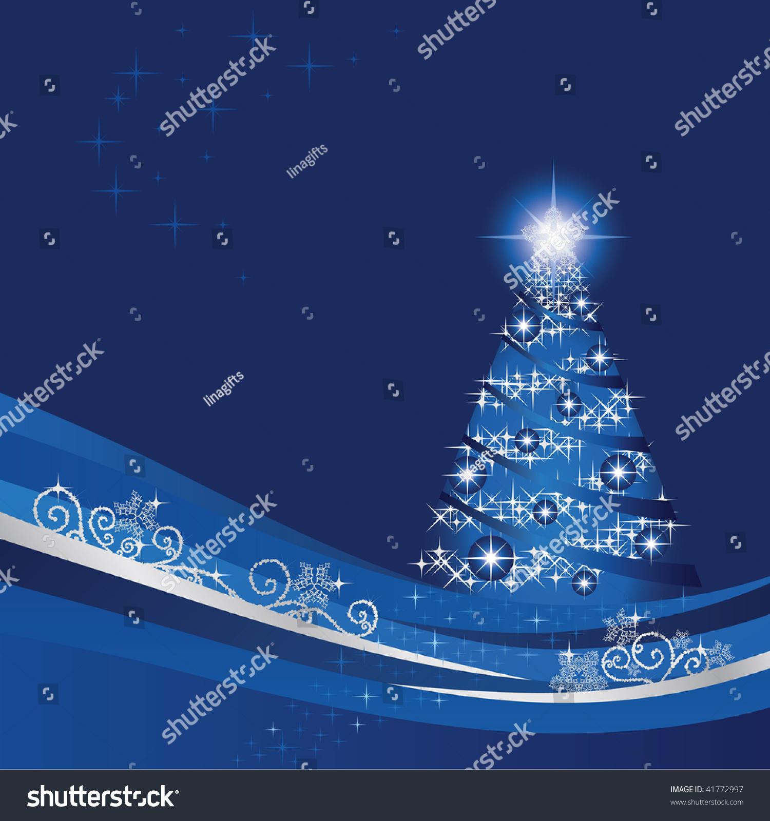 glowing christmas tree blue winter garden stock vector 41772997