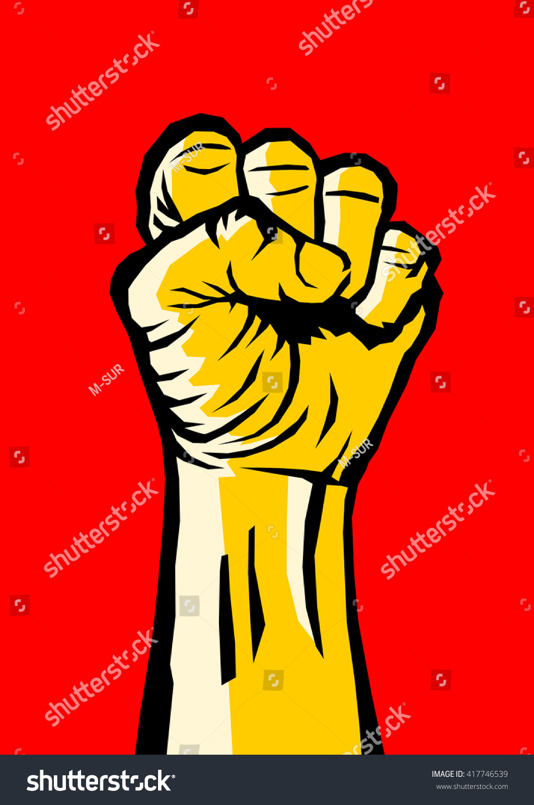 Raised Clenched Fist Symbol Revolution Uprising Stock Vector