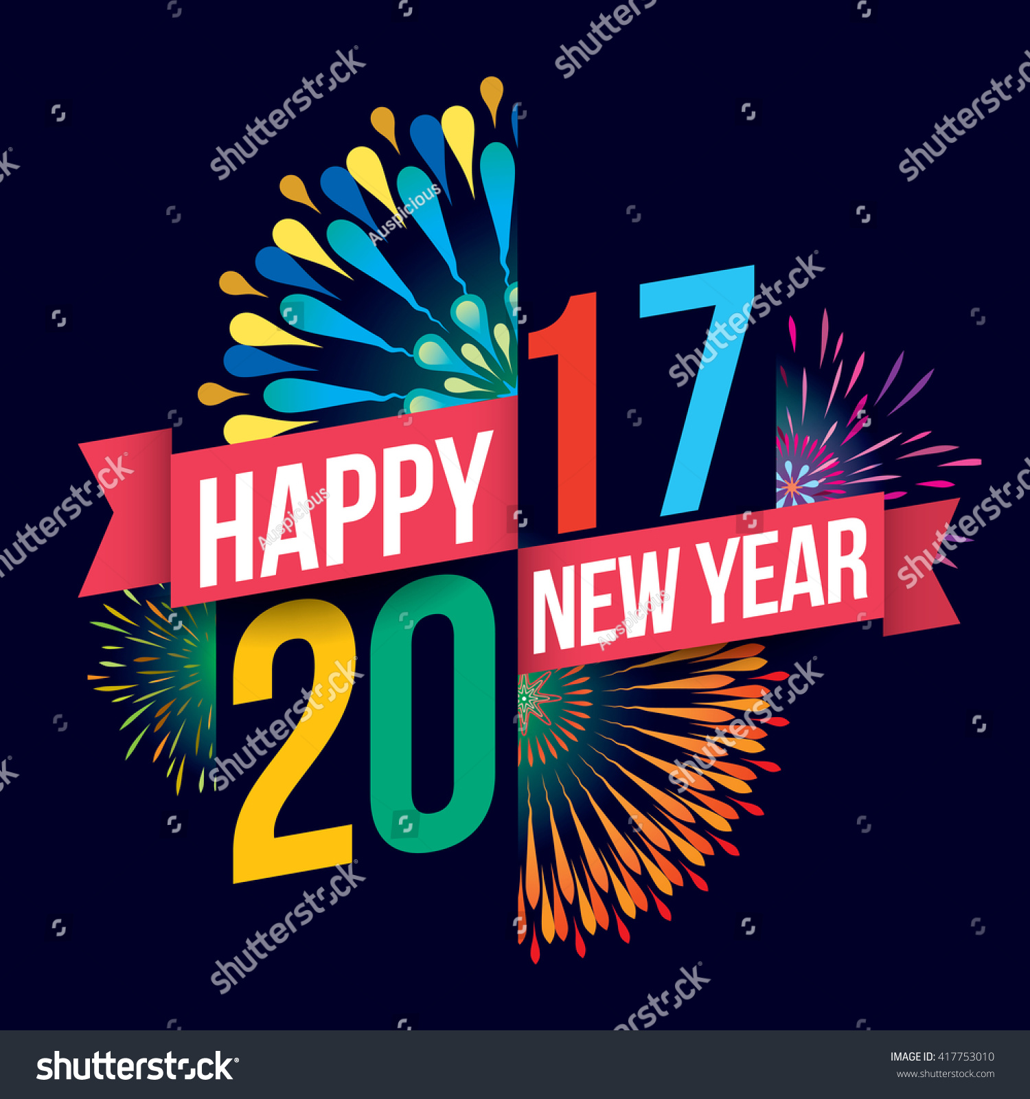 vector illustration of colorful fireworks happy new year 2018 theme ez canvas
