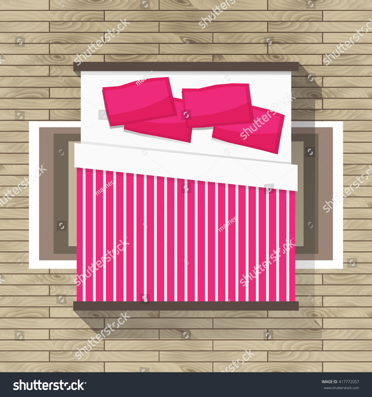 Top View Bedroom Pink Bed Furniture Stock Vector 417772057