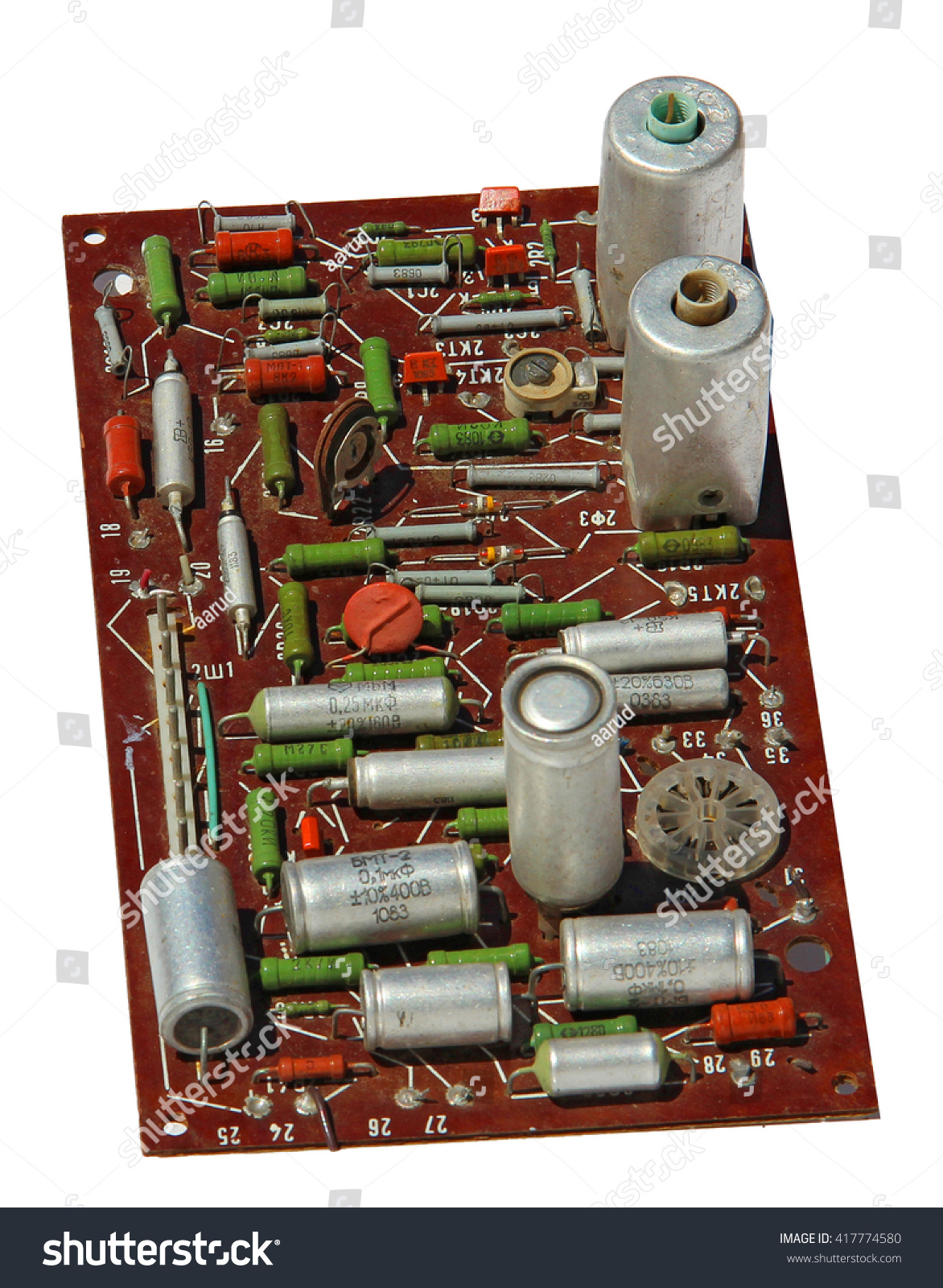 Old Rarity Radio Tv Printed Circuit Stock Photo Edit Now 417774580 Board With Electronic Components Capacitor Resistance