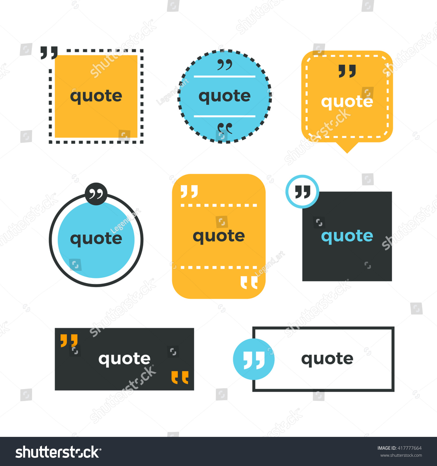 Quotes Set Quote Copyspace Template Quote Stock Vector 417777664 ...