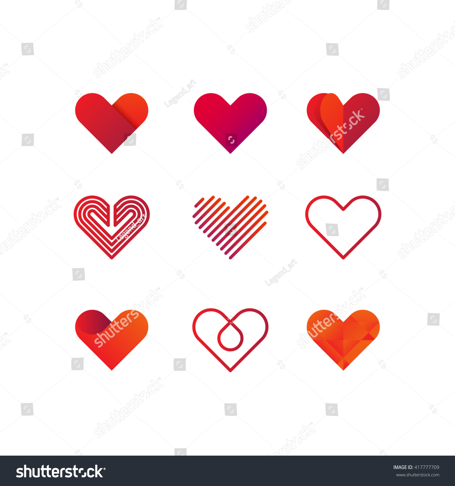 Line Art Logo : Set heart vector logo line art vectores en stock