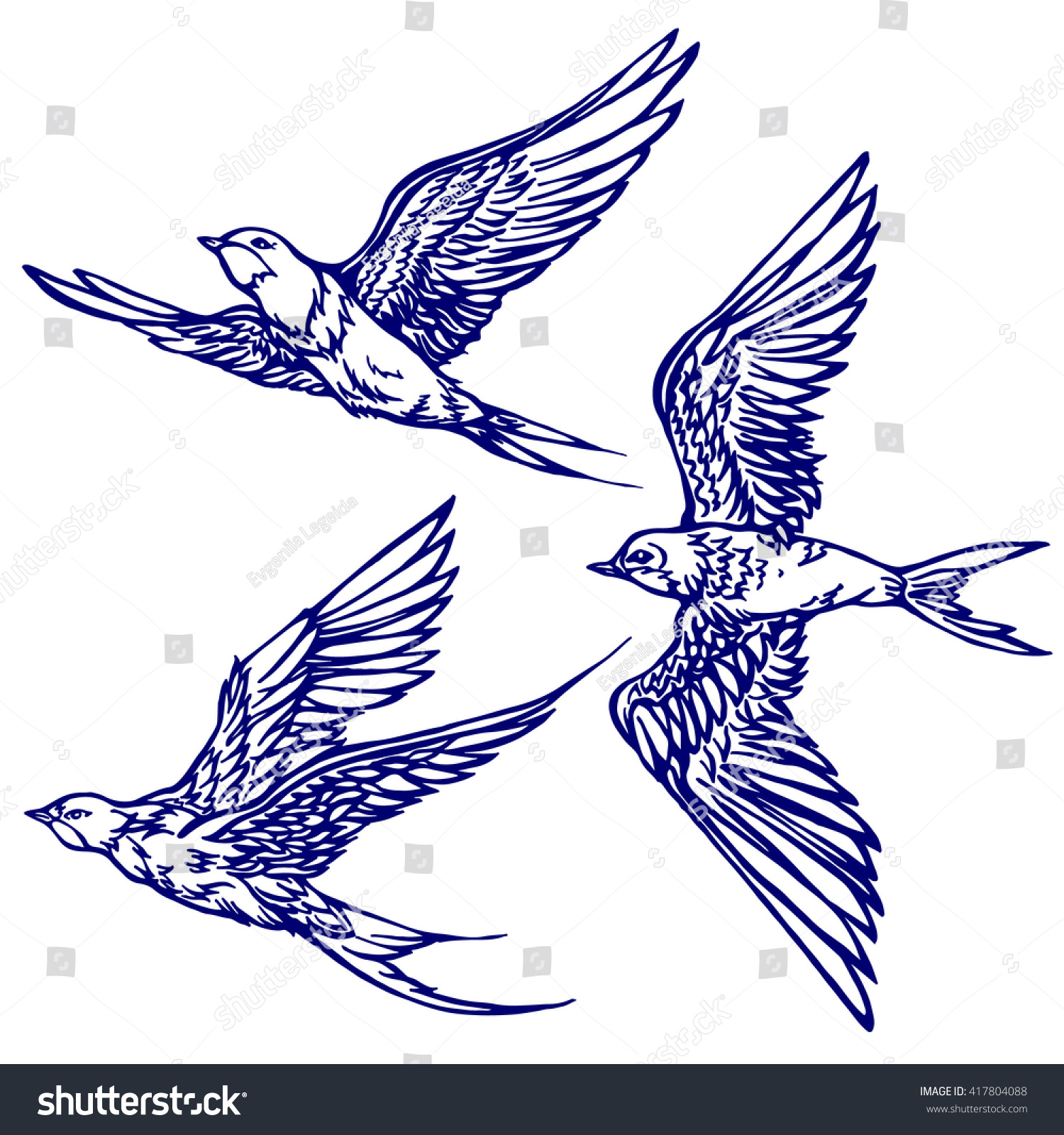 Set of sketches of flying swallows stock vector illustration - Set Of Three Swallows Flying Hand Drawn Graphics Sketch