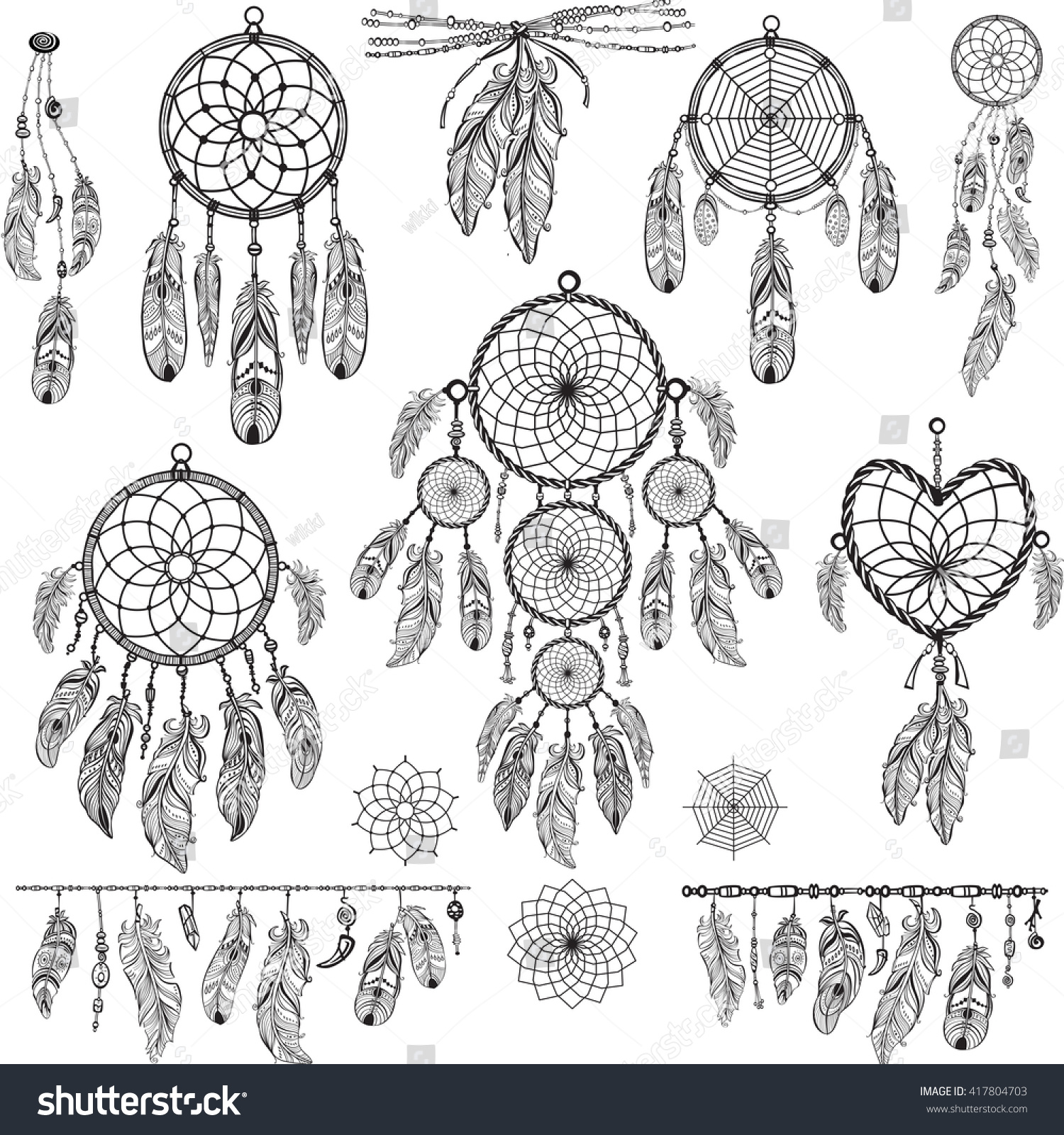 Tattoo designs coloring book - Design Elements In Boho Style Lineart Native Style Tattoo