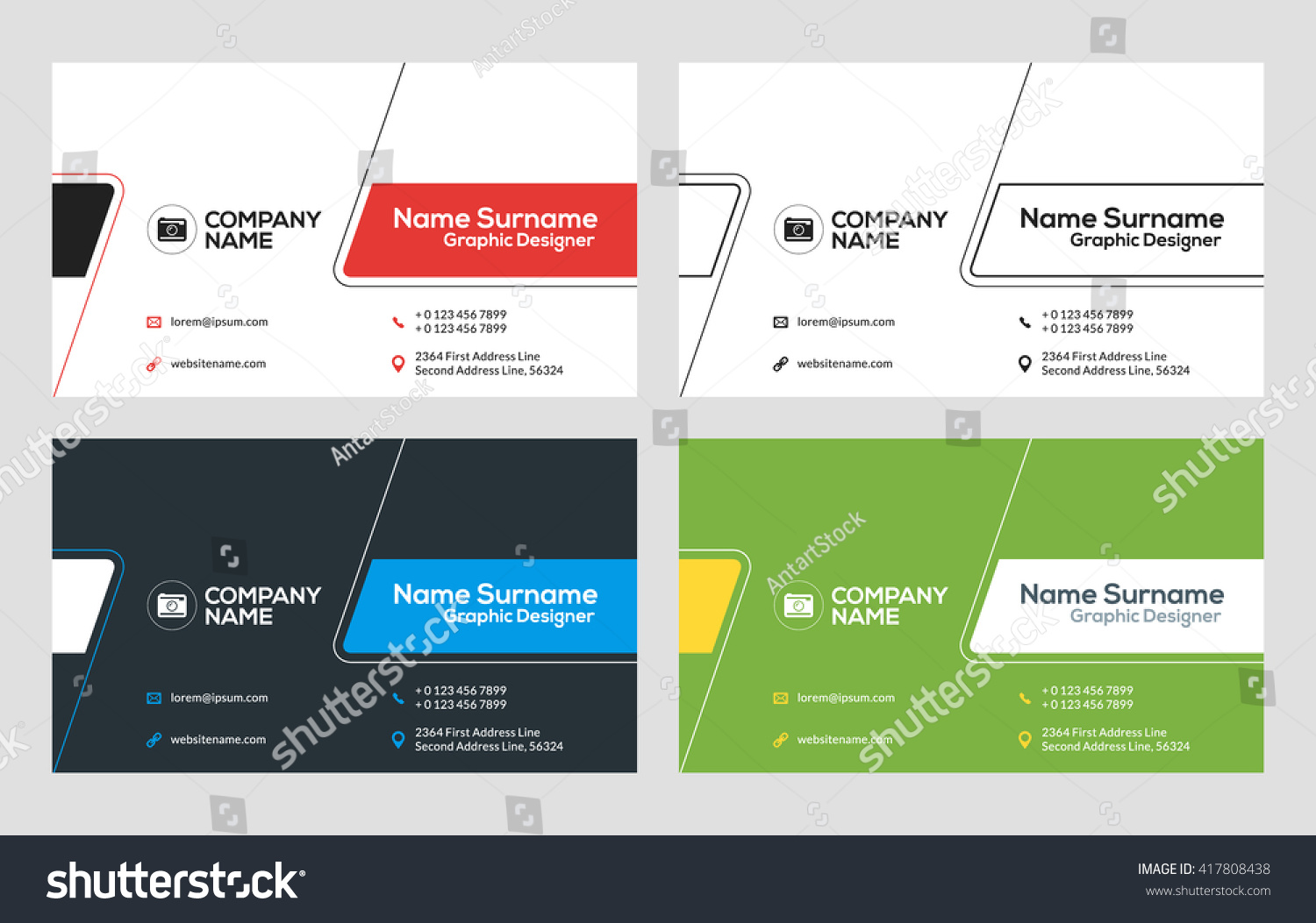 Business Card Vector Template Flat Style Stock Vector 417808438 ...