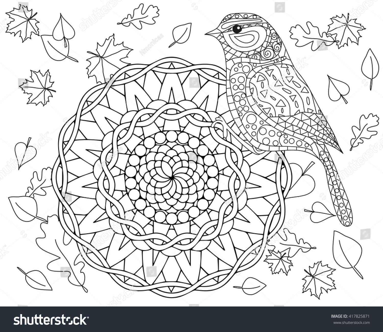 coloring page autumn bird mandala vector stock vector 417825871