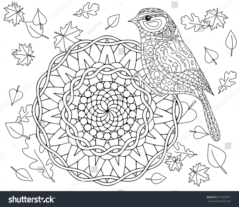 Coloring page autumn bird mandala vector stock vector for Autumn mandala coloring pages