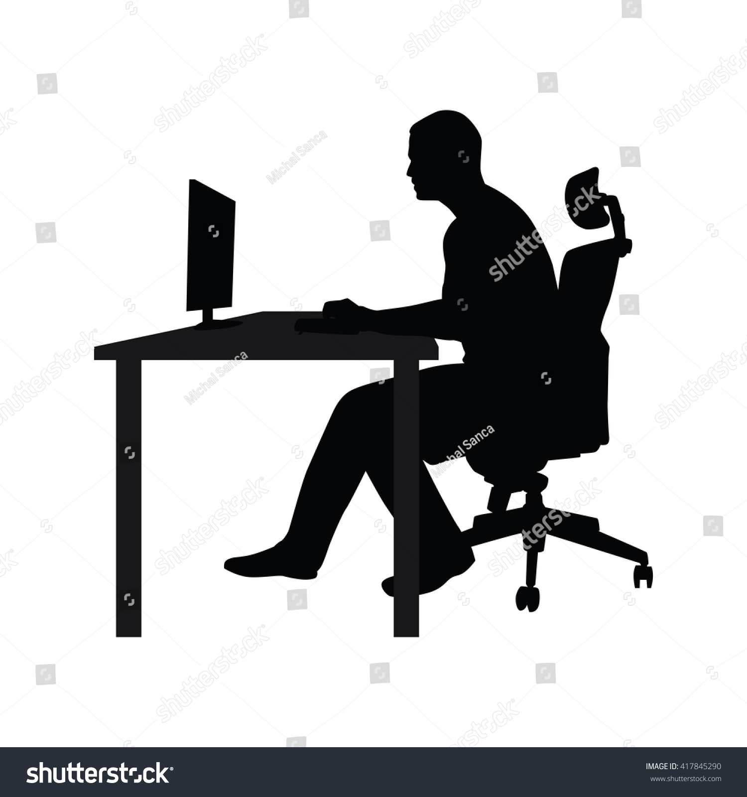 chair at table and working on computer. Side view. Vector silhouette ...