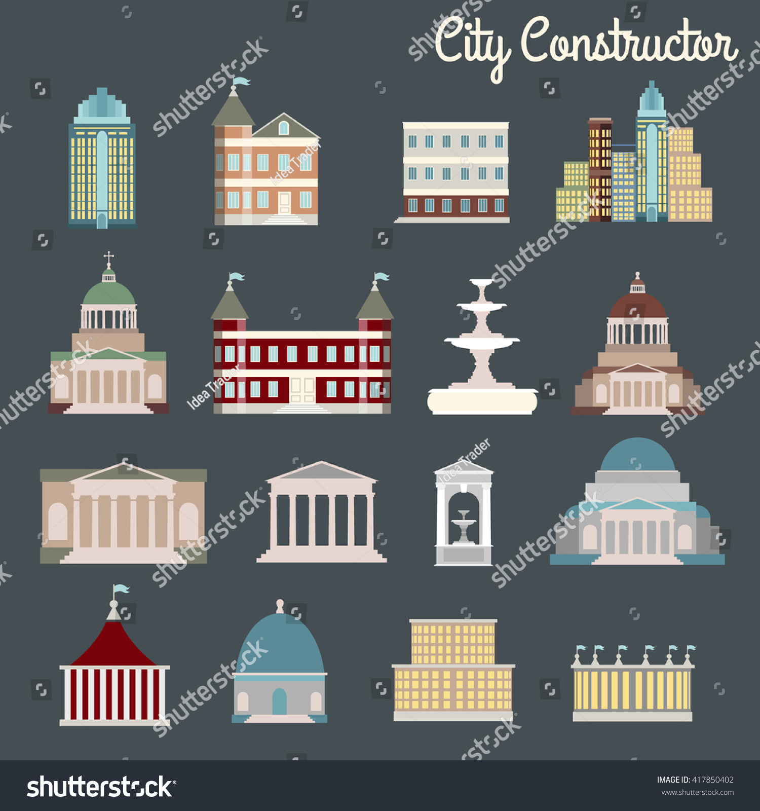 City Constructor Vector Illustration Buildings Made Cartoon Stock ...