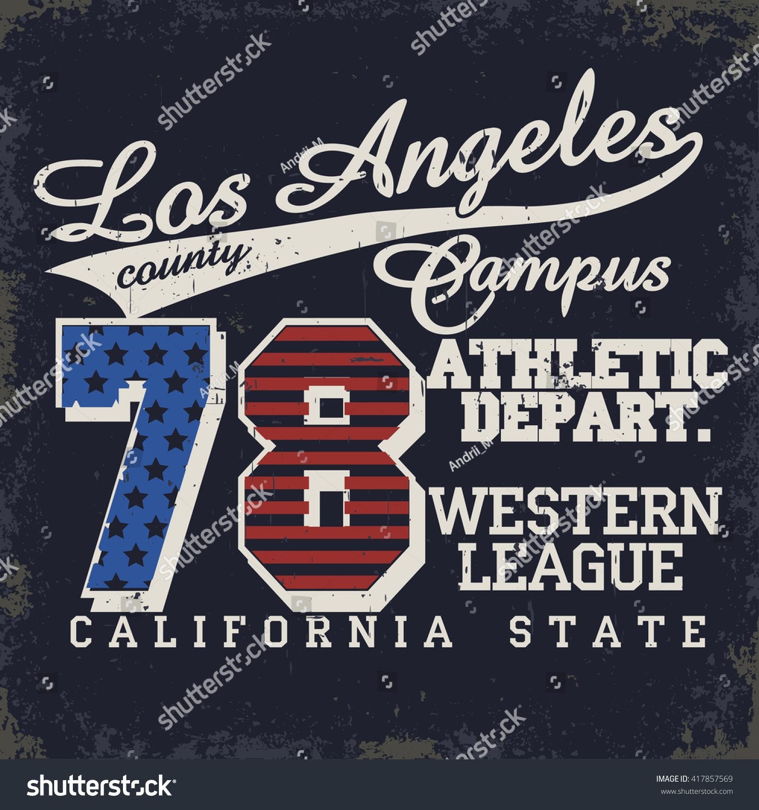Los Angeles Athletics Typography Stamp California T Shirt