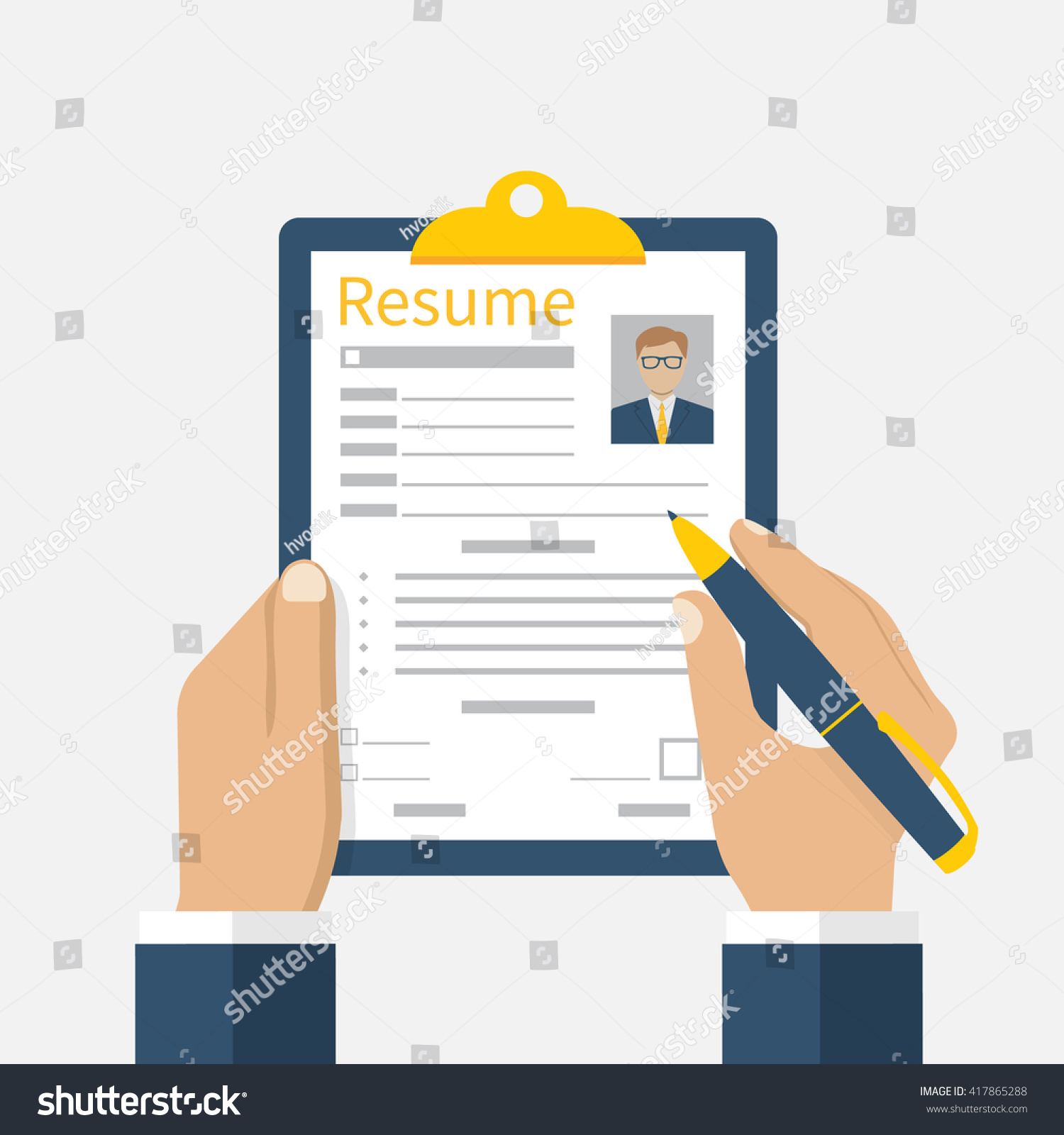 resume form hands clipboard leaf hand stock vector 417865288