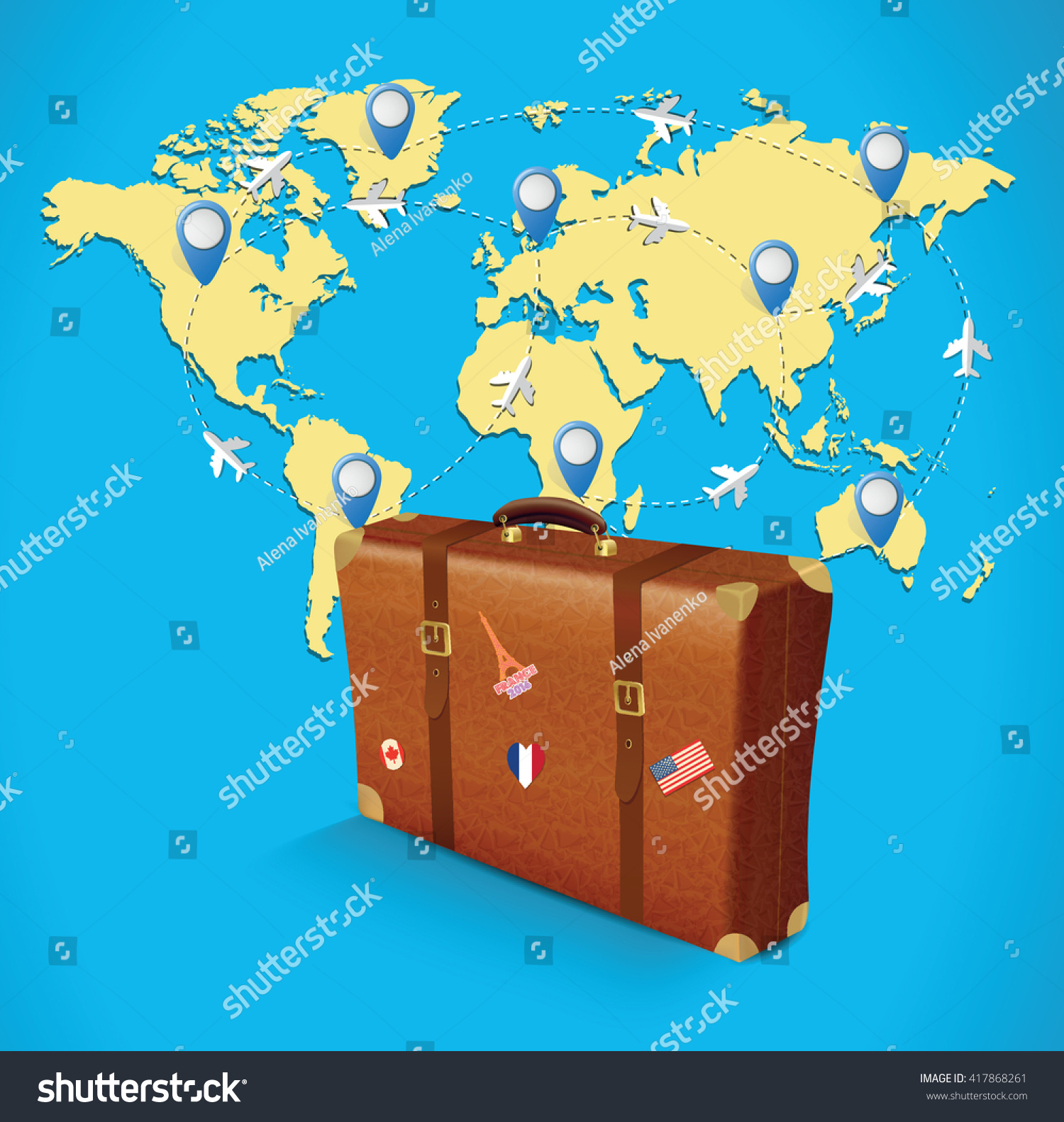 Realistic suitcase travel stickers on world stock vector 417868261 realistic suitcase with travel stickers on world map gumiabroncs Image collections