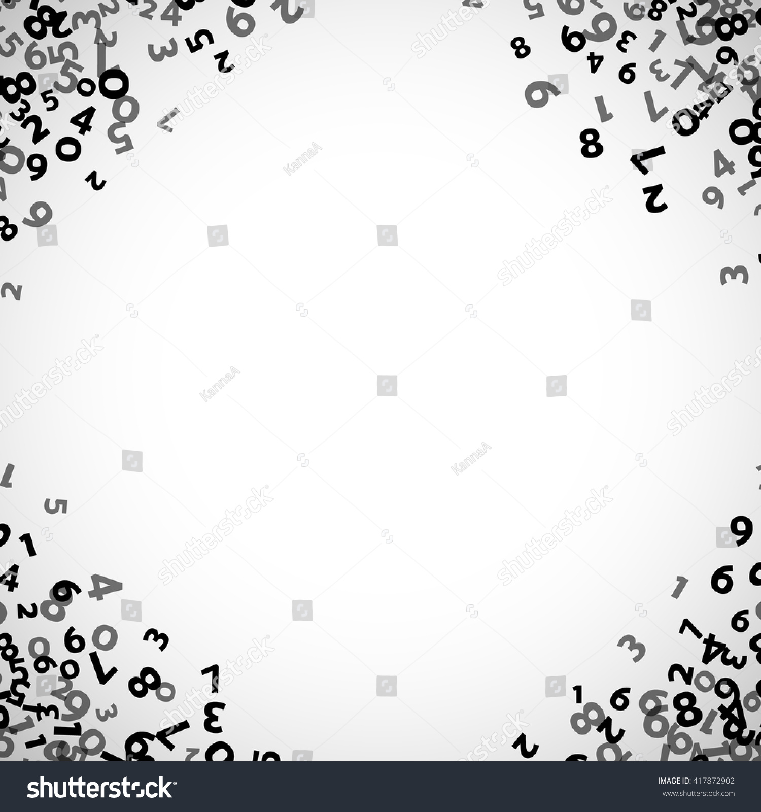 Abstract Math Number Background Vector Illustration For Business Design Black White Colors Random