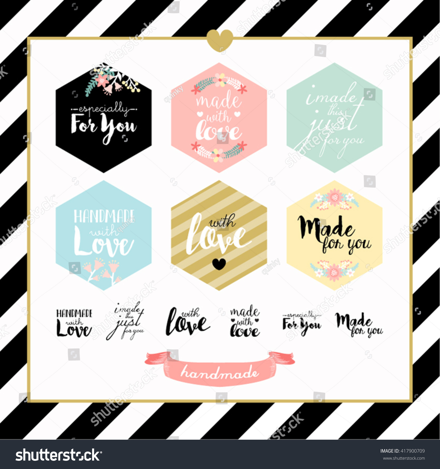 Handmade with Love Typography Stamp Vector Design