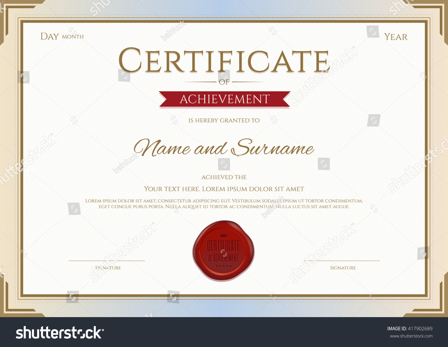 certificate achievement template red wax seal stock vector 417902689