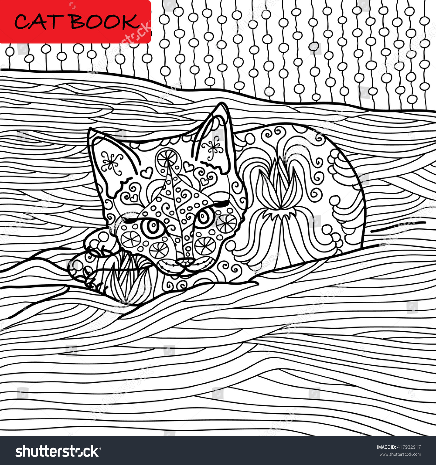 Coloring Cat Page For Adults Adorable Baby Kitten Lying On The Sofa Hand Drawn