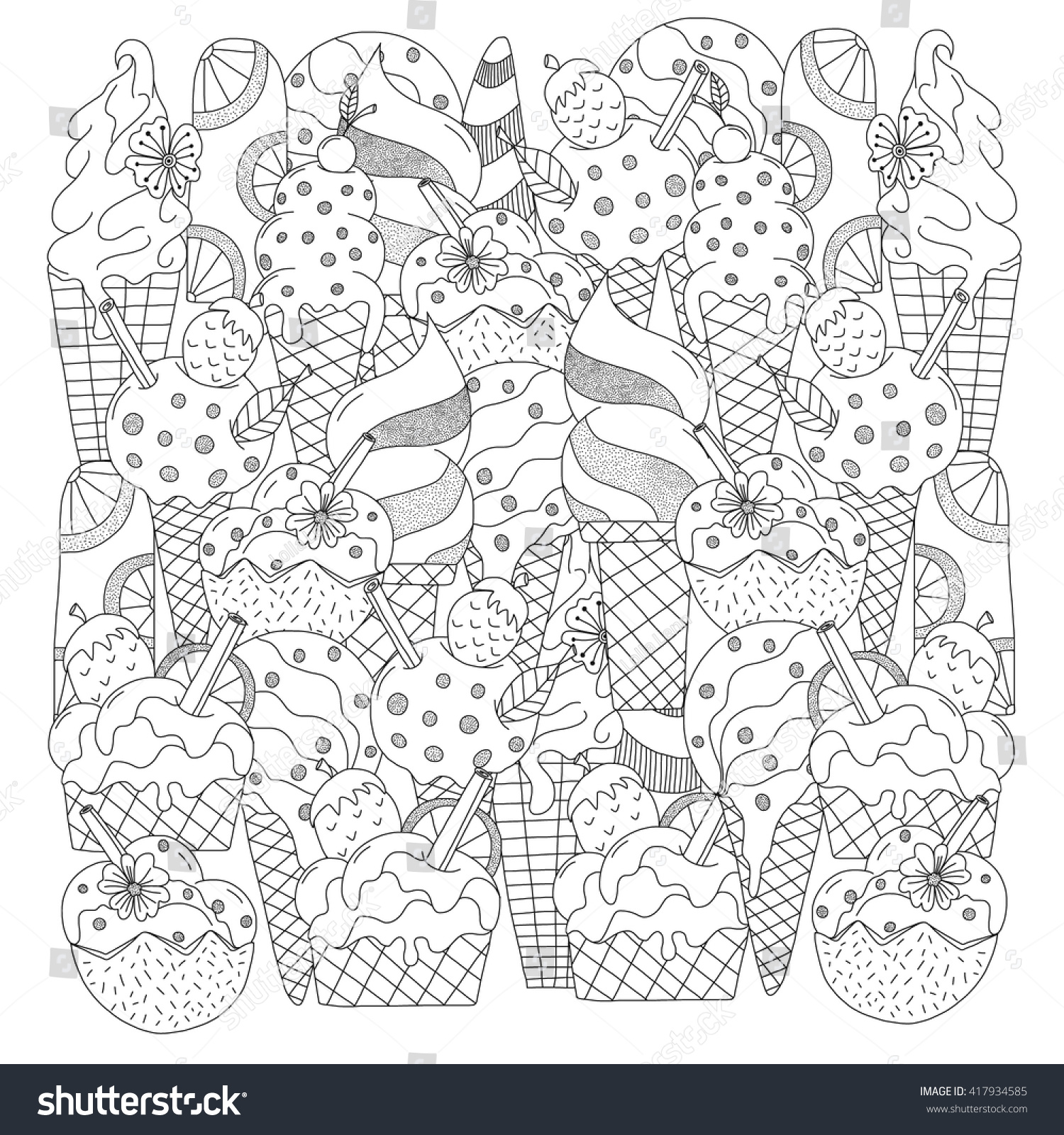 Ice cream coloring book pages - Ice Cream Hand Drawn Ethnic Patterned In Doodle Zentangle Style Coloring Book Page
