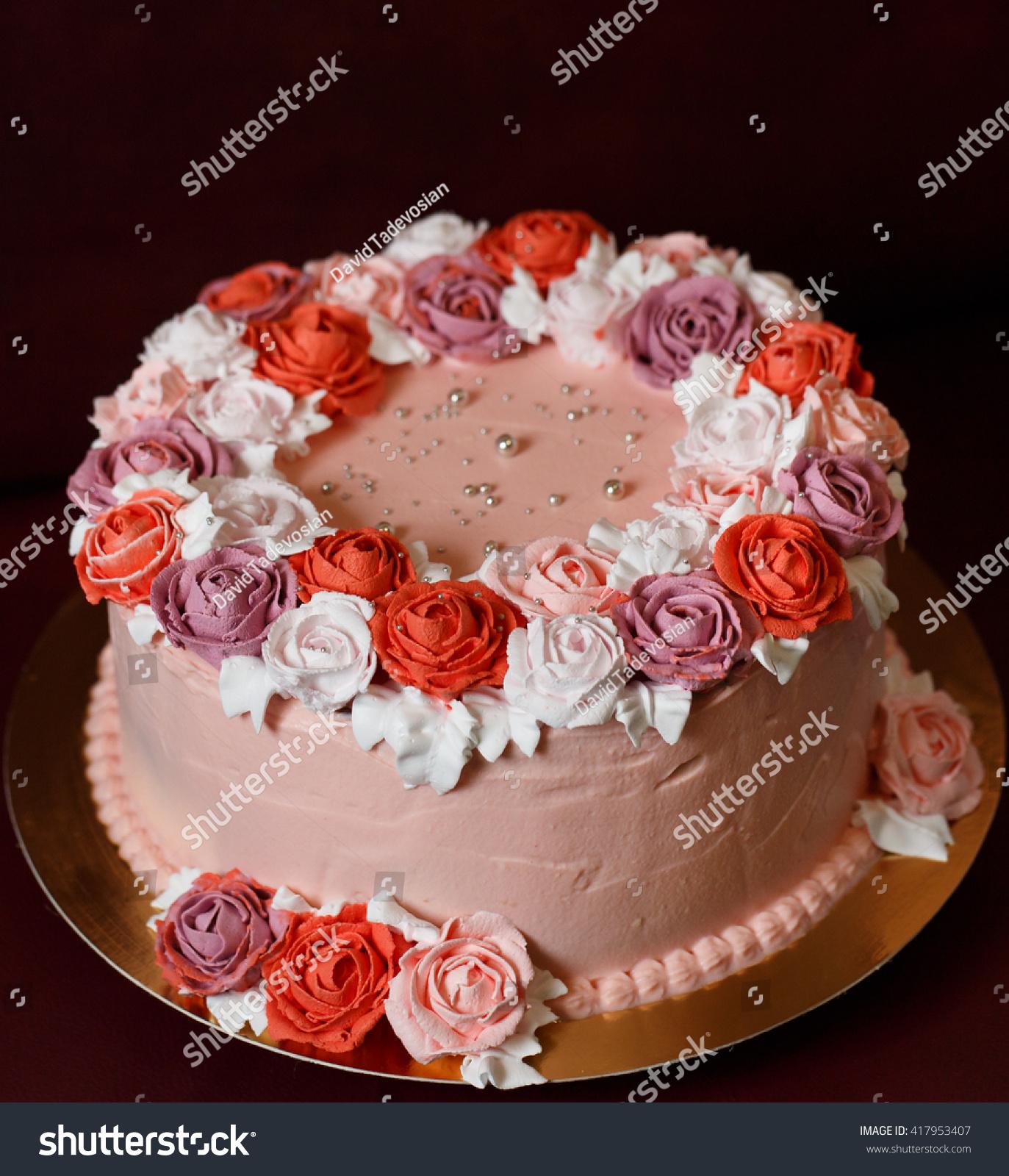Birthday Cake Red Roses Stock Photo Edit Now 417953407 Shutterstock