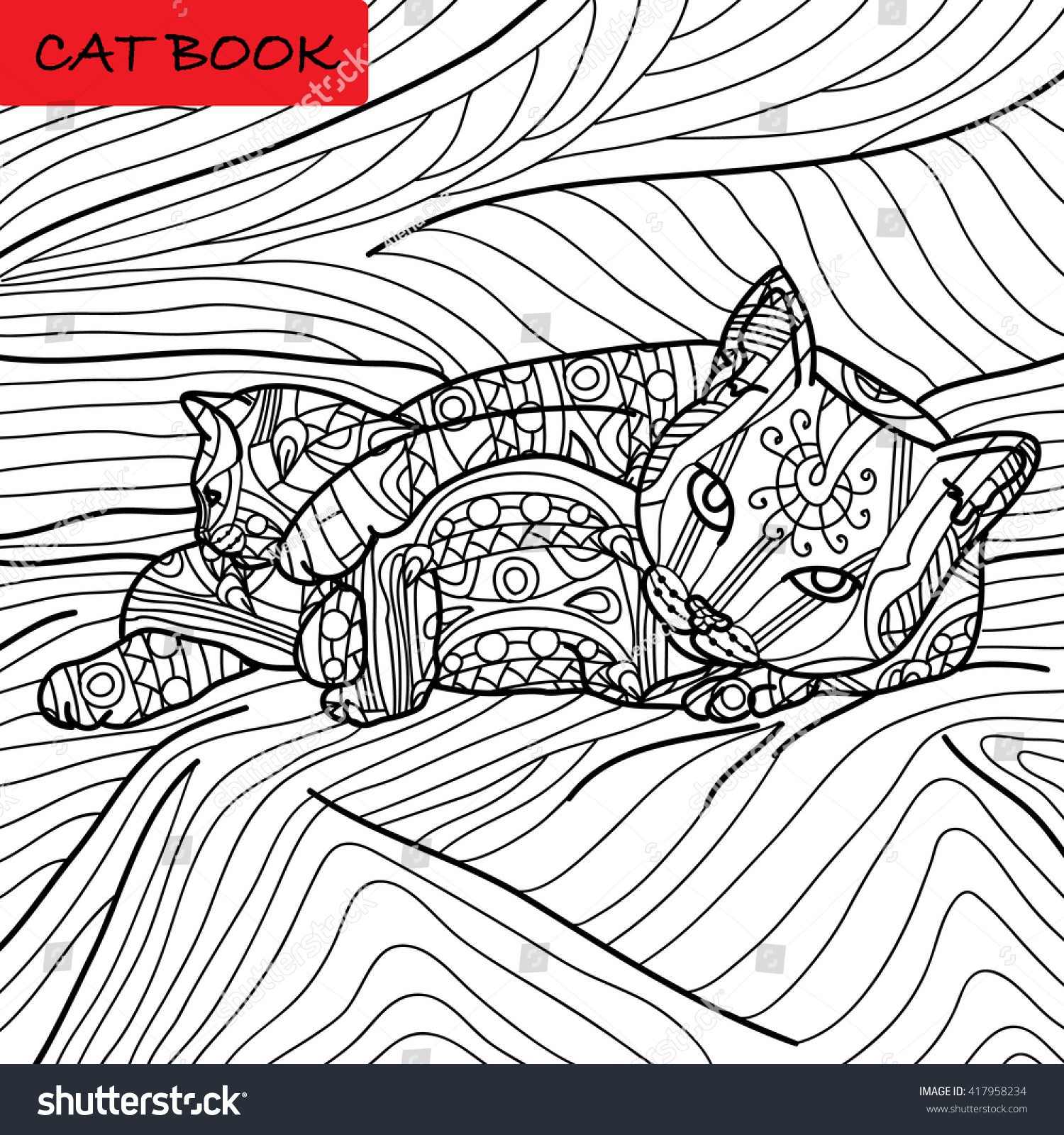 Coloring Cat Page Adults Cat Mom Stock Vector 417958234