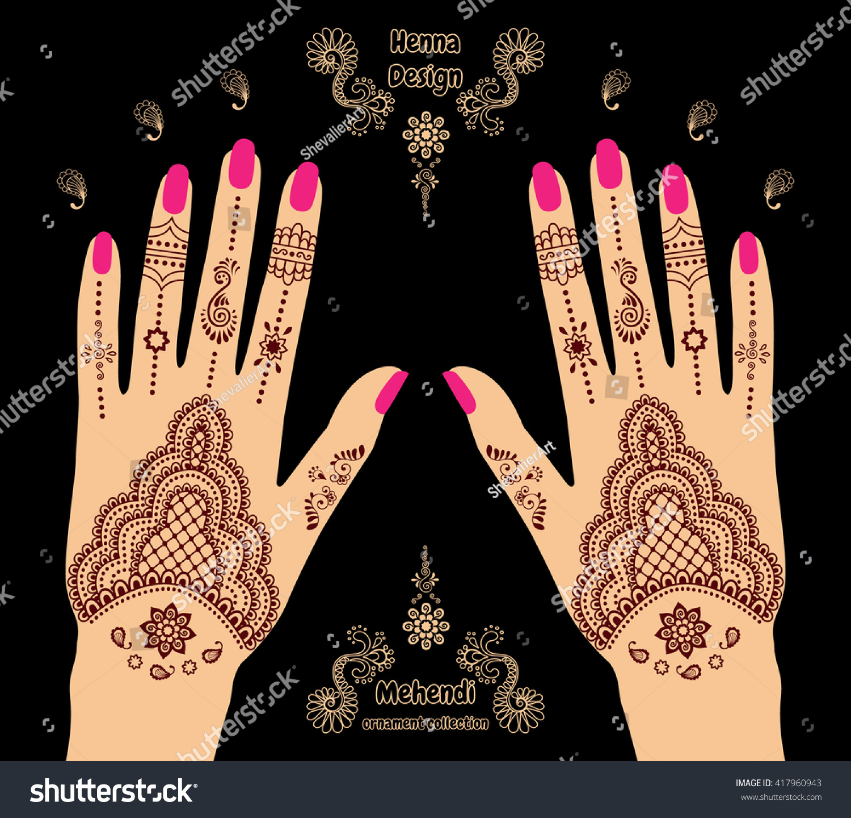 Colourful Henna Tattoo Hands Background Mehendi Stock Vector