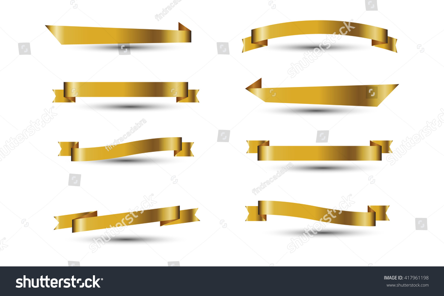 Gold ribbon vector