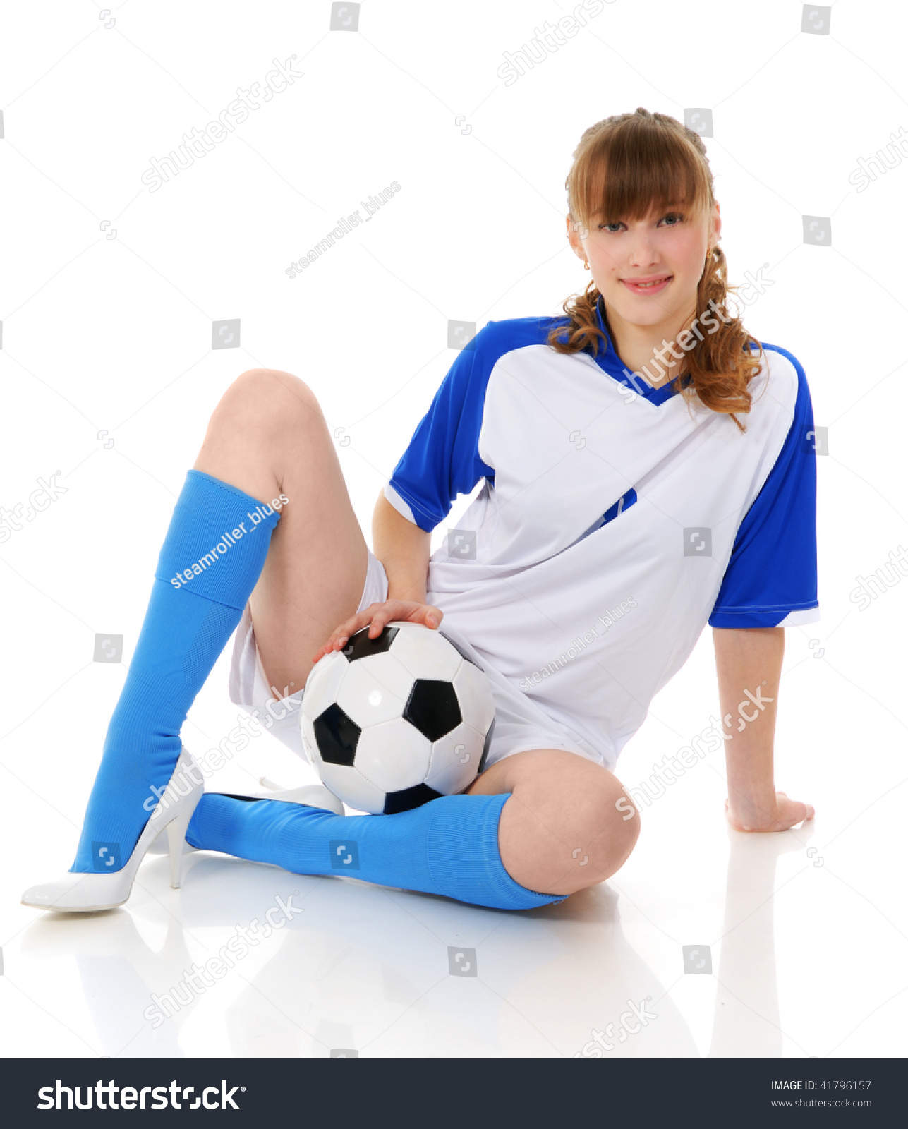 ab2a6d9c5 Young Woman Clothed Uniform Soccer Ball Stock Photo (Edit Now ...