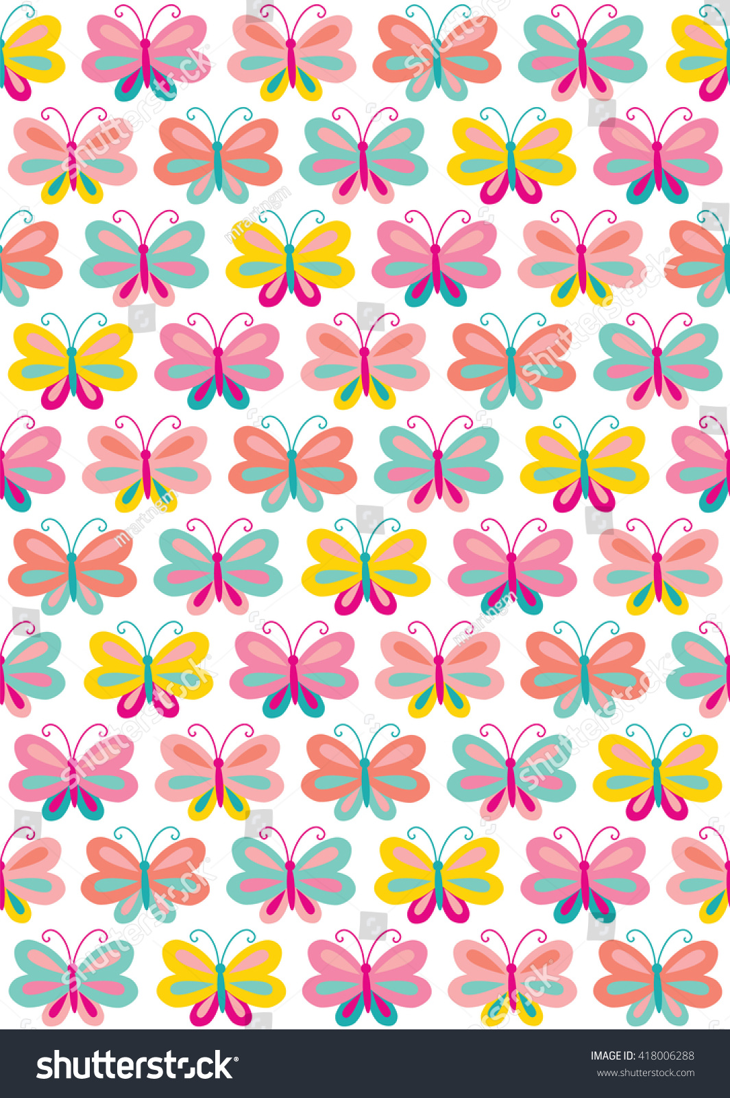 Seamless Cute Butterfly Backgrounds Stock Vector Royalty Free