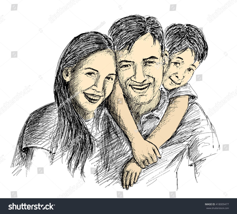 Hand Sketch Happy Family Parents Children Stock Vector