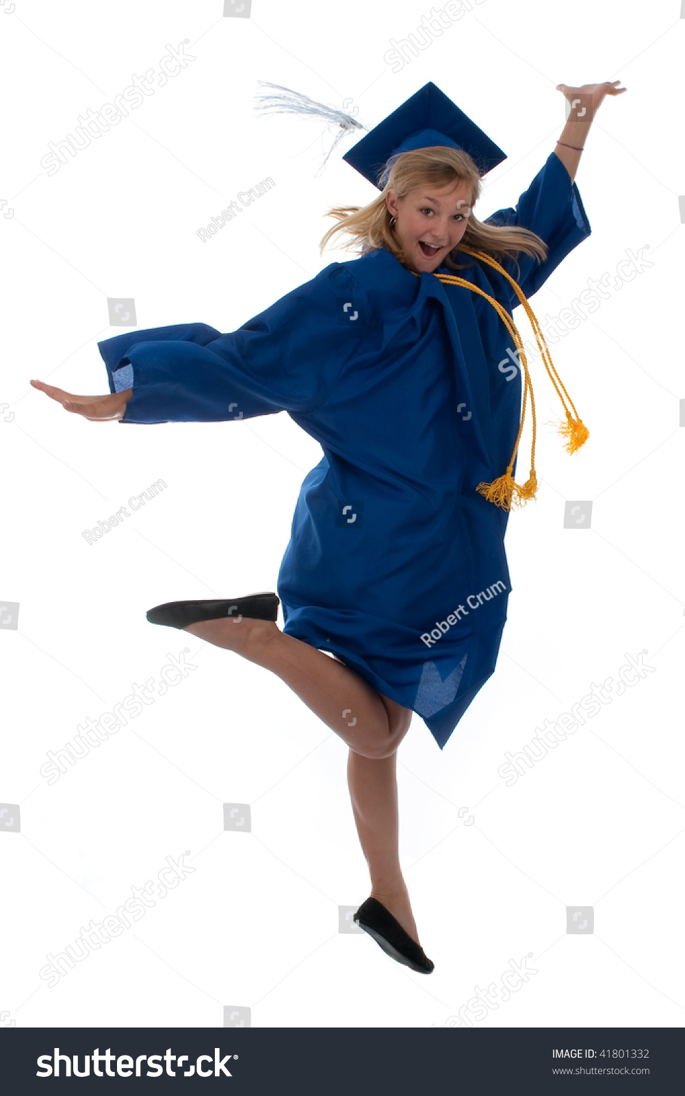 Teen Girl Graduation Gown Jumping Joy Stock Photo (Edit Now ...