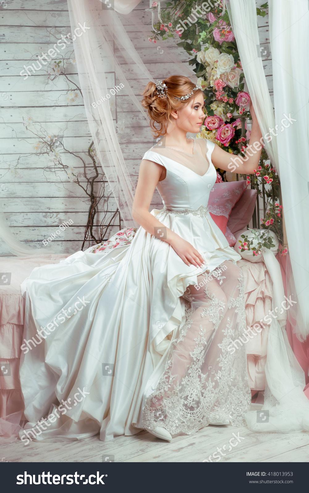 Romantic Young Woman Wedding Dress Sitting Stock Photo (Royalty Free ...
