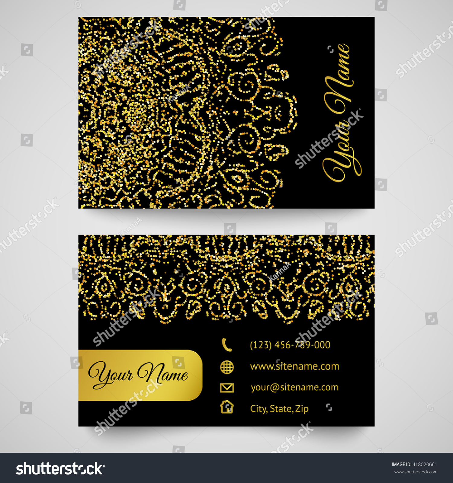 gold business card template bright golden stock illustration 418020661 shutterstock. Black Bedroom Furniture Sets. Home Design Ideas