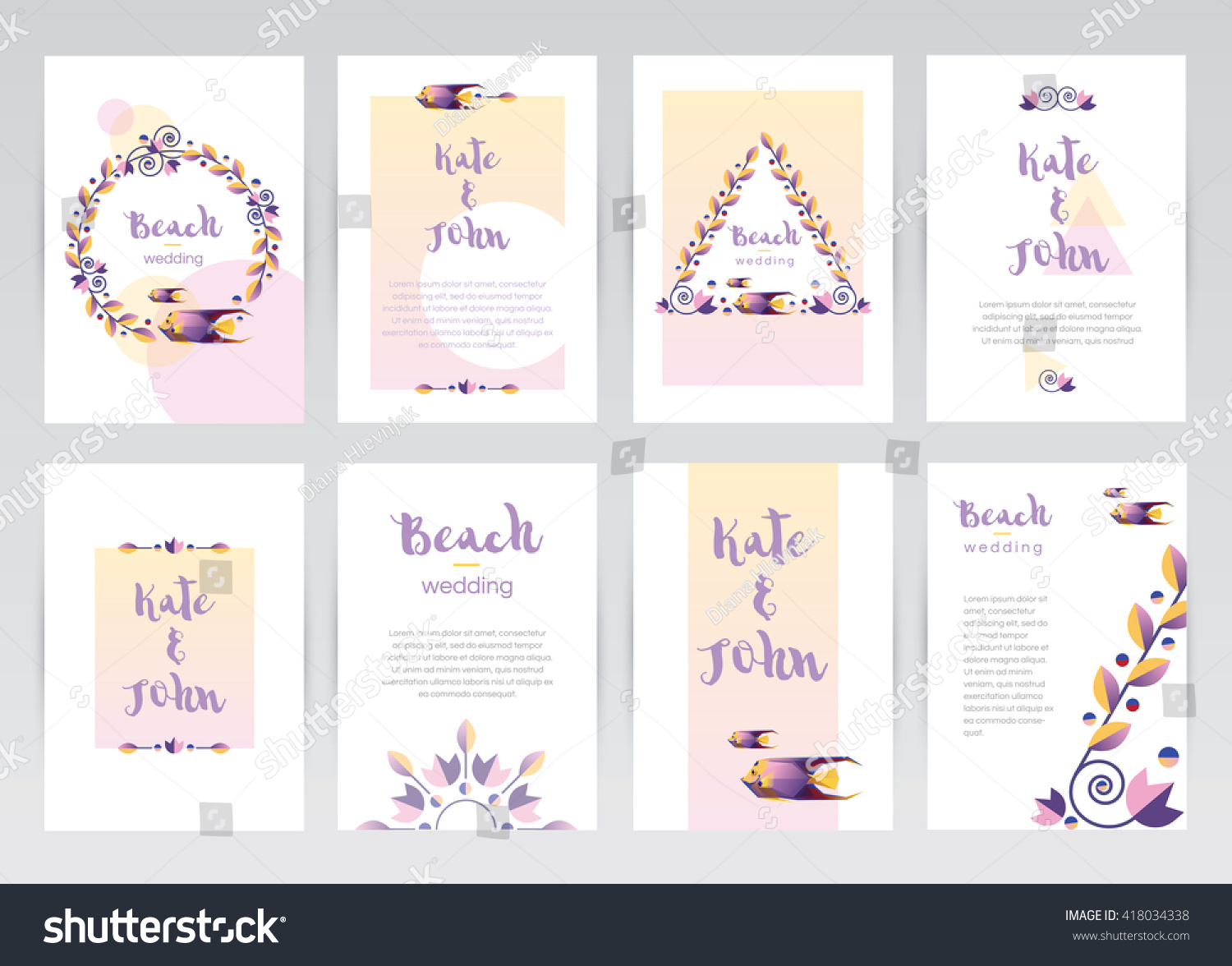 Set Colorful Tropical Theme Wedding Invitation Stock Vector (2018 ...