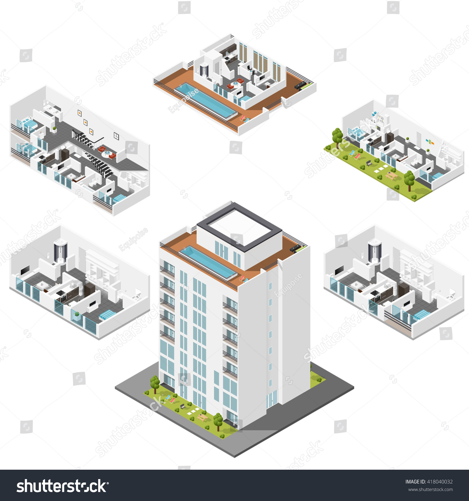 residential house apartments cut isometric icons stock