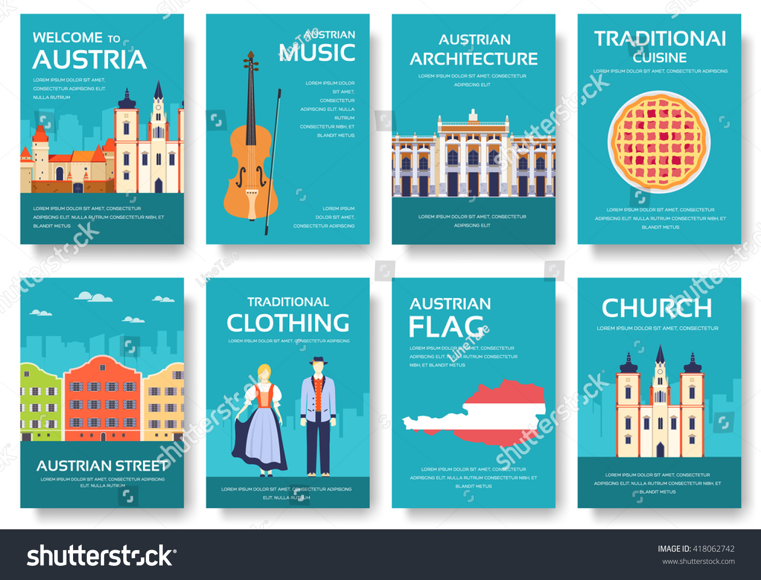 Set of Austria country ornament travel trip concept Art traditional magazine book poster abstract ottoman motifs element Vector decorative ethnic greeting card or invitation design background