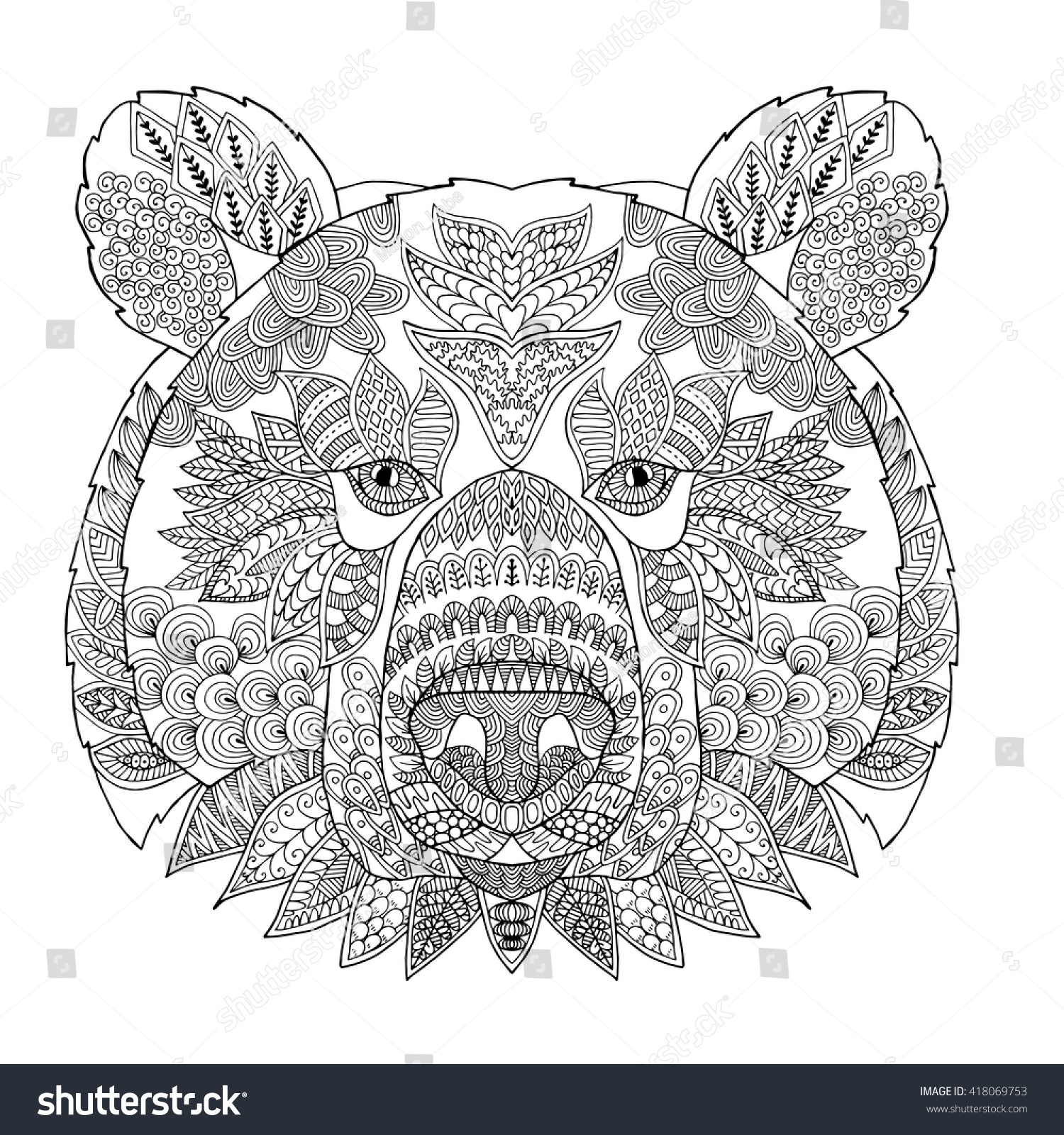 Zentangle Stylized Doodle Vector Bear Head Stock-Vektorgrafik ...