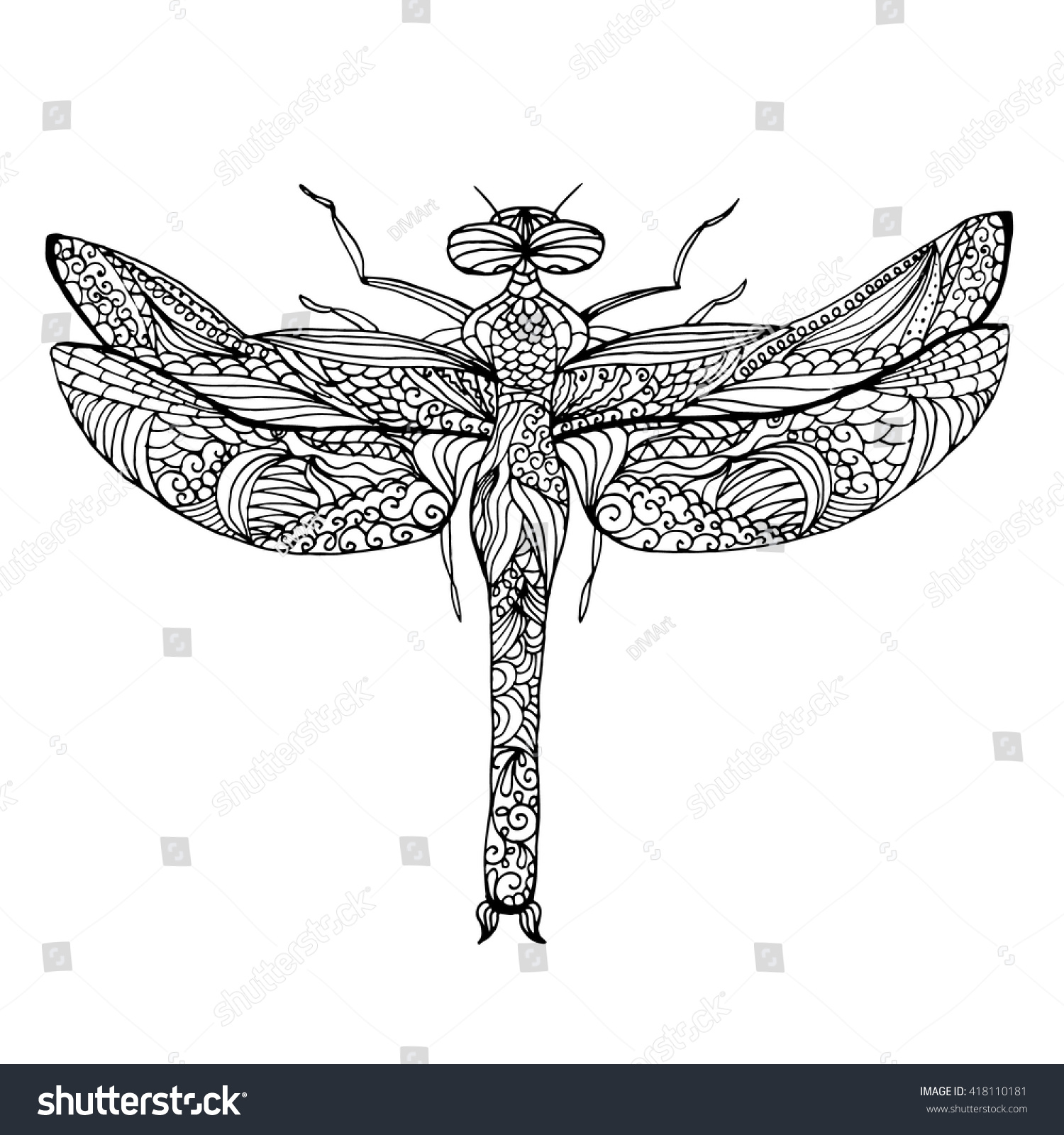 Zentangle Stylized Dragonfly Ethnic Patterned Vector Stock Vector ...