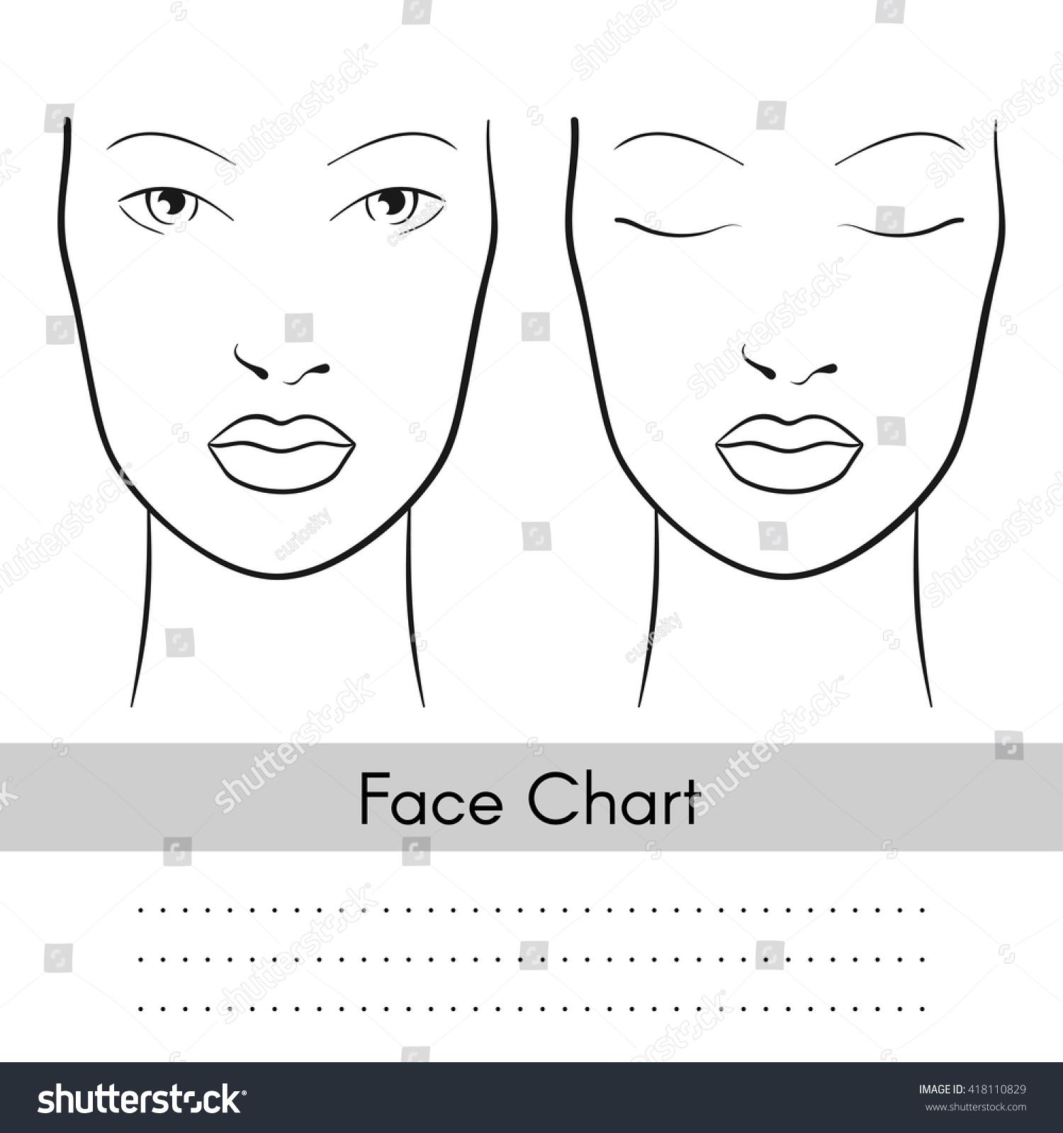 vector beautiful woman face chart portrait stock vector 418110829 shutterstock. Black Bedroom Furniture Sets. Home Design Ideas